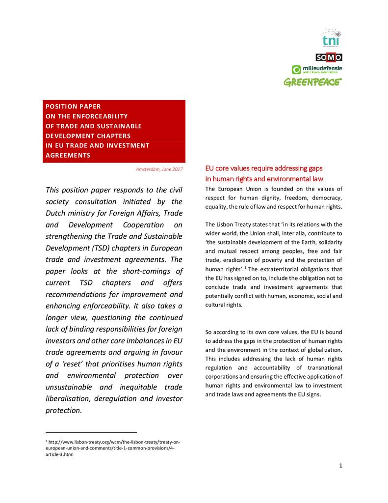 Voorbeeld van de eerste pagina van publicatie 'Standpuntnota over de duurzaamheids-hoofdstukken in EU handelsverdragen'