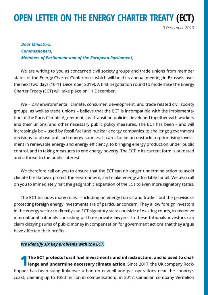 Voorbeeld van de eerste pagina van publicatie 'Lobbybrief: Stop het energiehandvest'