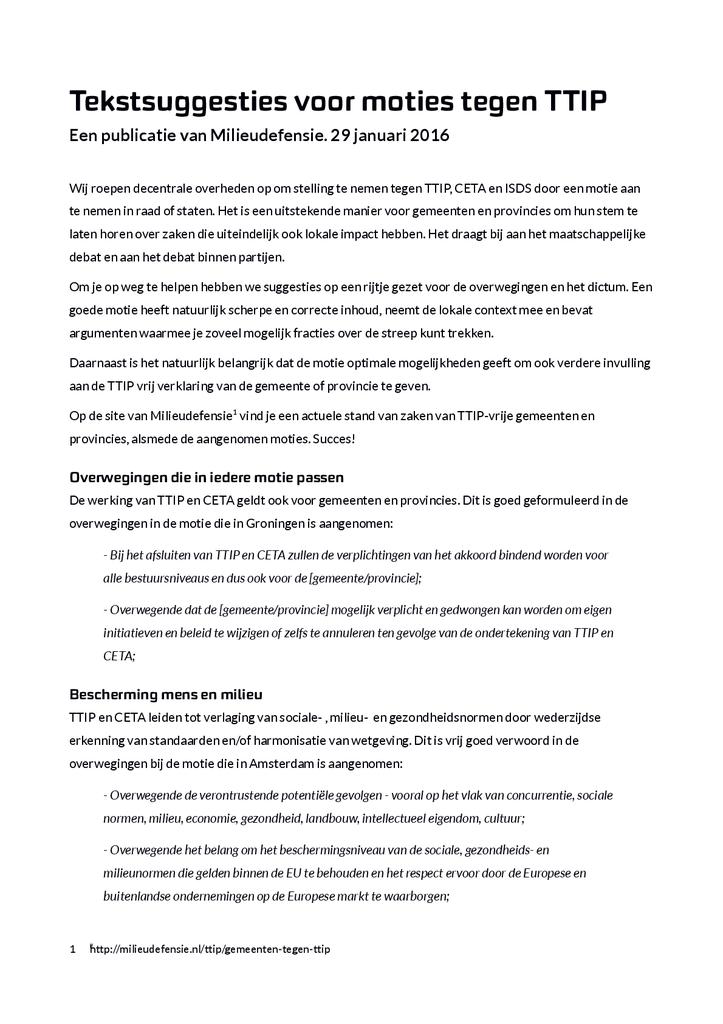 Voorbeeld van de eerste pagina van publicatie 'Tekstsuggesties voor moties tegen TTIP'