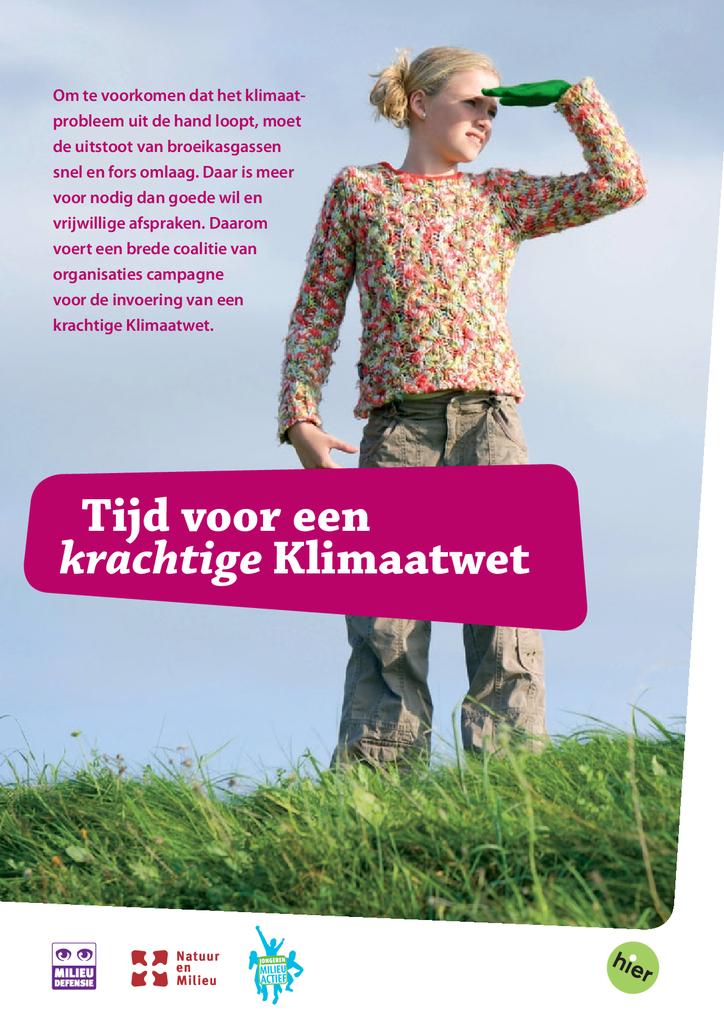 Voorbeeld van de eerste pagina van publicatie 'Tijd voor een krachtige klimaatwet'
