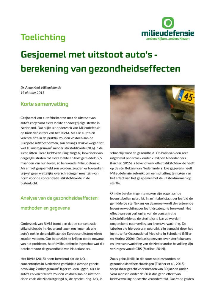 Voorbeeld van de eerste pagina van publicatie 'Toelichting berekening gezondheidseffecten uitstootfraude'