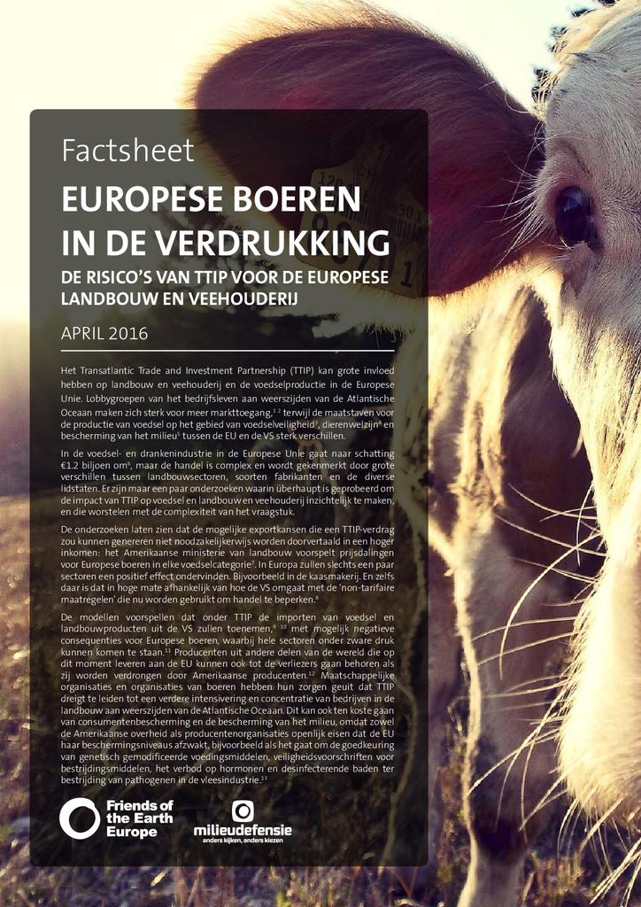 Voorbeeld van de eerste pagina van publicatie 'TTIP: Europese boeren in de verdrukking'
