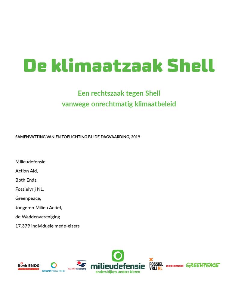Voorbeeld van de eerste pagina van publicatie 'Uitgebreide samenvatting dagvaarding Shell'