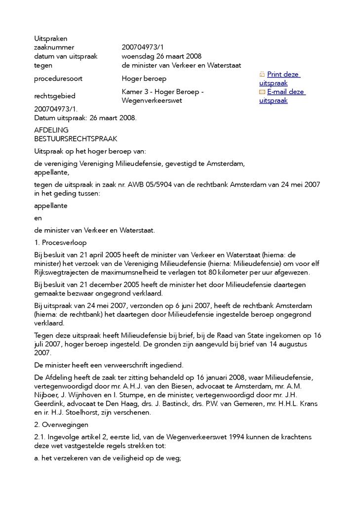 Voorbeeld van de eerste pagina van publicatie 'Uitspraak inzake verzoek tot verlaging maximale snelheid 11 Rijkswegtrajecten'