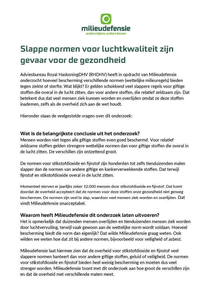 Voorbeeld van de eerste pagina van publicatie 'Veelgestelde vragen over het onderzoek naar normen luchtkwaliteit'