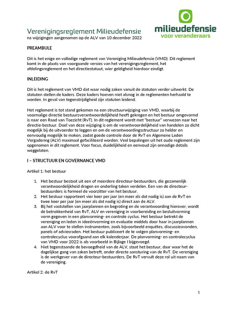 Voorbeeld van de eerste pagina van publicatie 'Verenigingsreglement en Statuten'