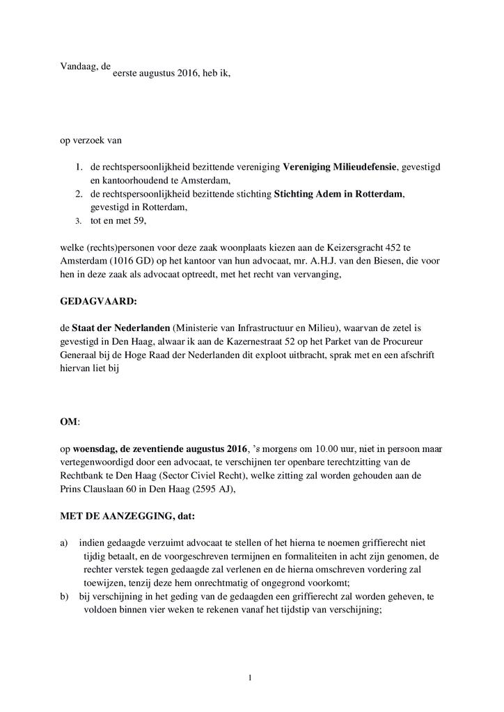 Voorbeeld van de eerste pagina van publicatie 'Volledige dagvaarding rechtszaak'