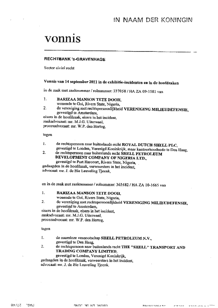 Voorbeeld van de eerste pagina van publicatie 'Vonnis inzake het exhibitieverzoek in rechtszaak tegen Shell van Milieudefensie en Nigeriaanse boeren (Dooh)'