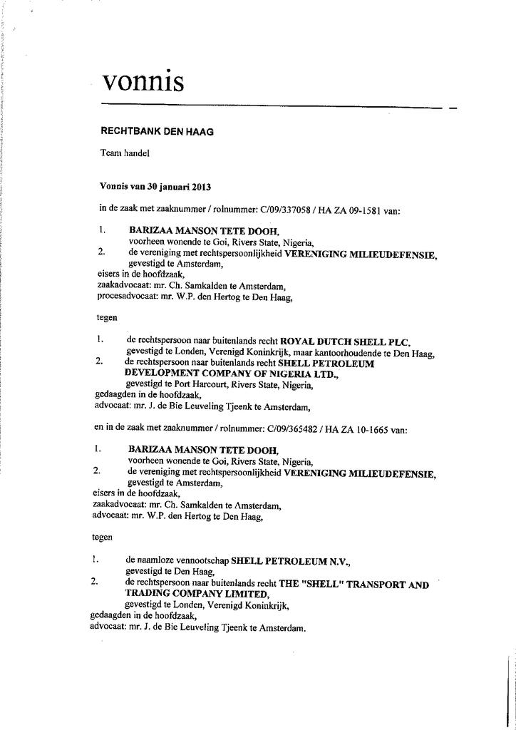Voorbeeld van de eerste pagina van publicatie 'Rechterlijk vonnis Shell olielekkage Goi, Nigeria'