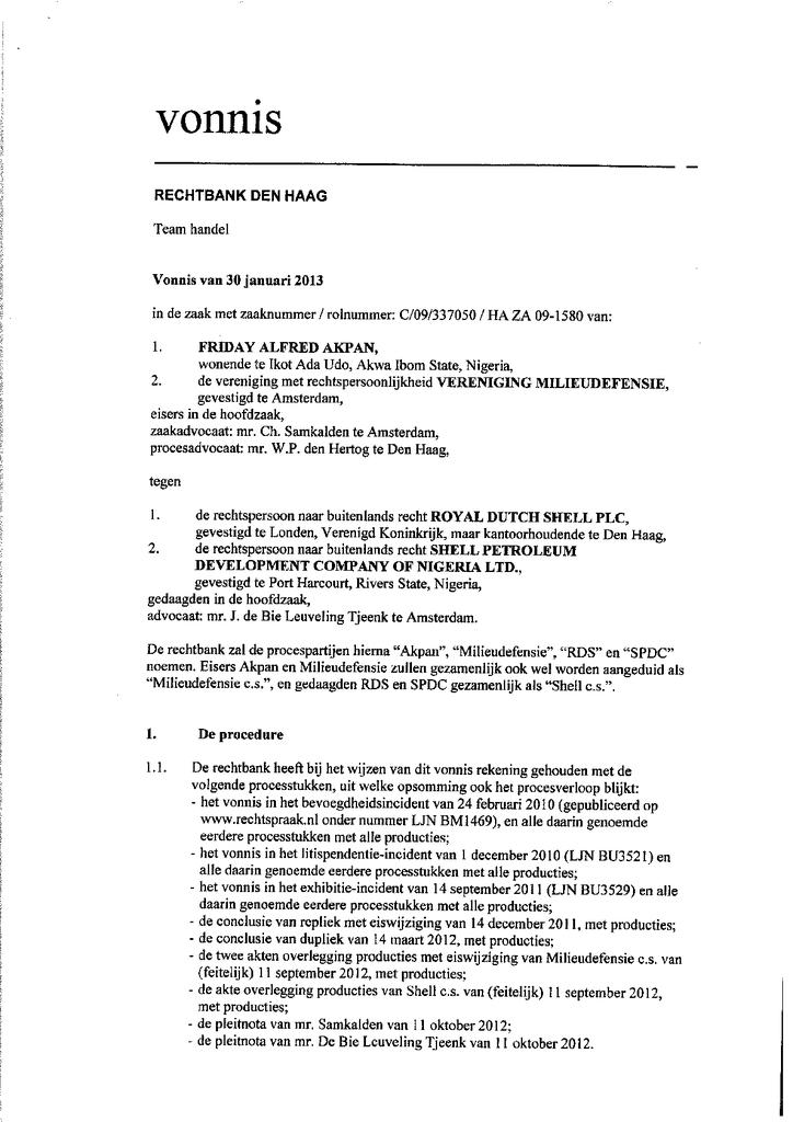Voorbeeld van de eerste pagina van publicatie 'Rechterlijk vonnis Shell olielekkage Ikot Ada Udo, Nigeria'