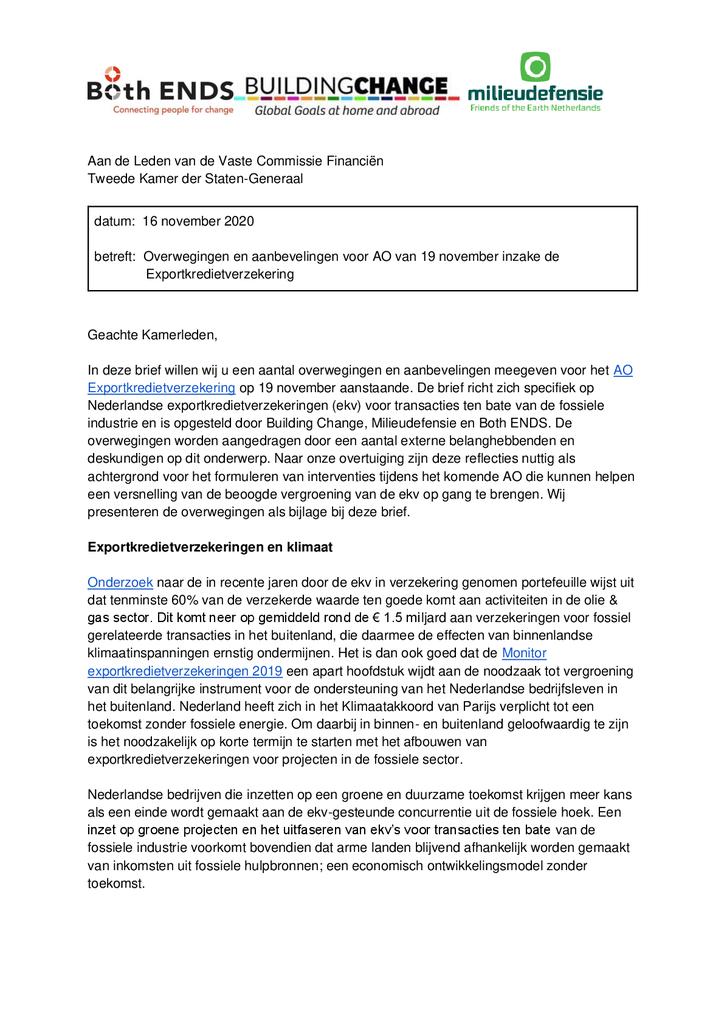 Voorbeeld van de eerste pagina van publicatie 'Brief over Exportkredietverzekeringen'
