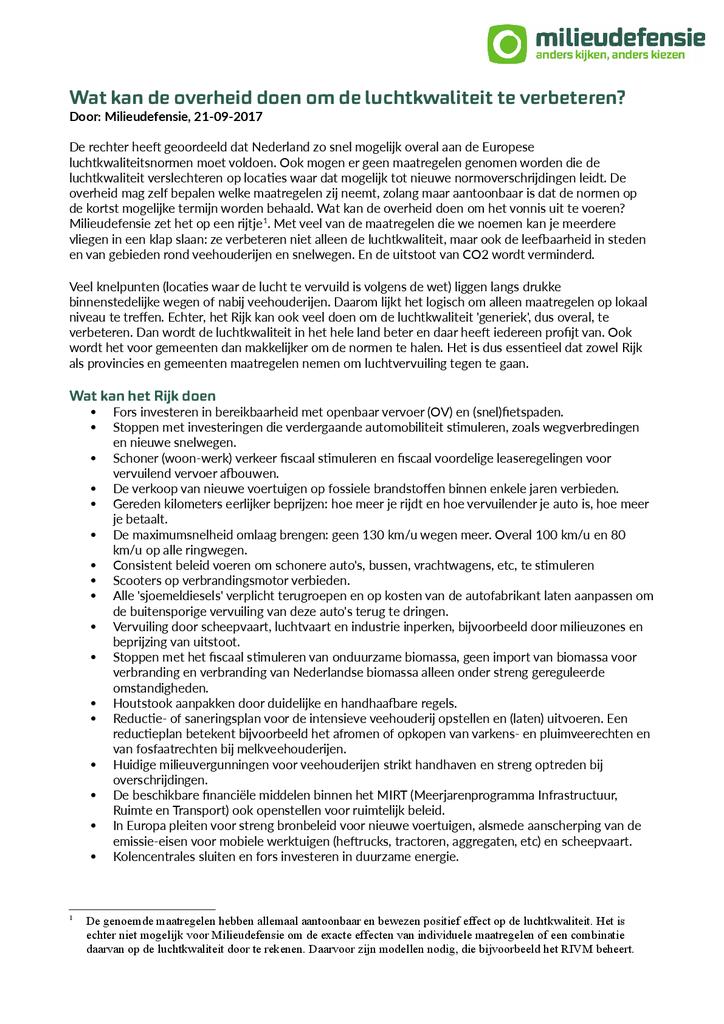 Voorbeeld van de eerste pagina van publicatie 'Wat kan de overheid doen om de luchtkwaliteit te verbeteren?'