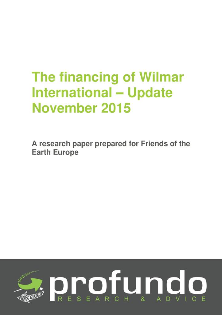 Voorbeeld van de eerste pagina van publicatie 'De financiering van het palmoliebedrijf Wilmar International'