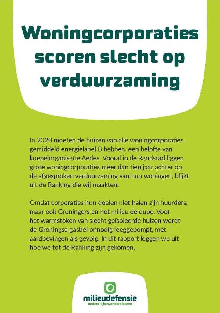 Voorbeeld van de eerste pagina van publicatie 'Woningcorporaties scoren slecht op verduurzaming'