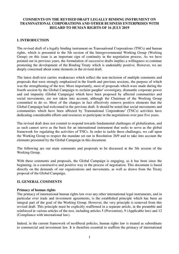 Voorbeeld van de eerste pagina van publicatie 'Reactie Friends of the Earth op nieuw concept VN-verdrag'