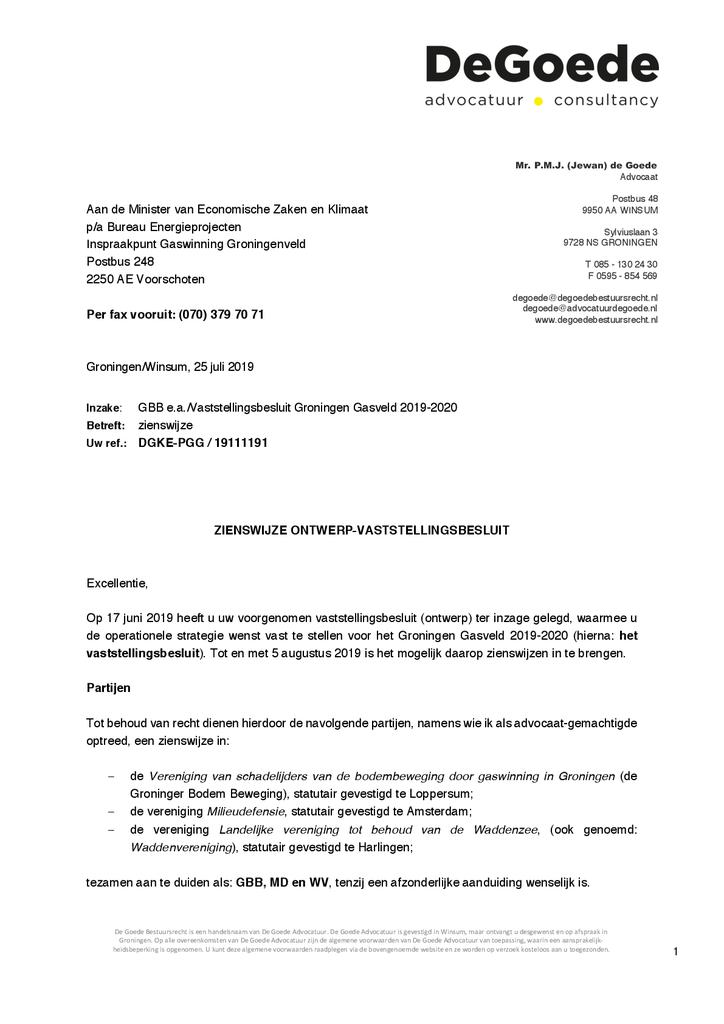 Voorbeeld van de eerste pagina van publicatie 'Zienswijze gaswinning Groningenveld 2019-2020'