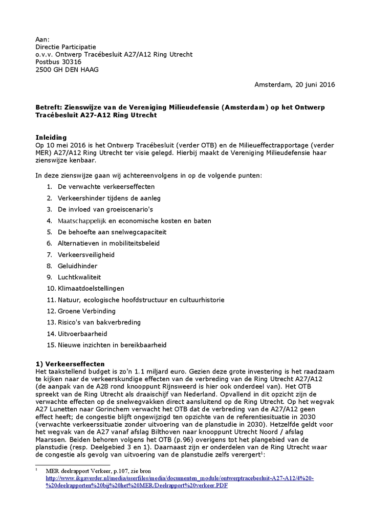 Voorbeeld van de eerste pagina van publicatie 'Zienswijze Ring Utrecht A12-A27'