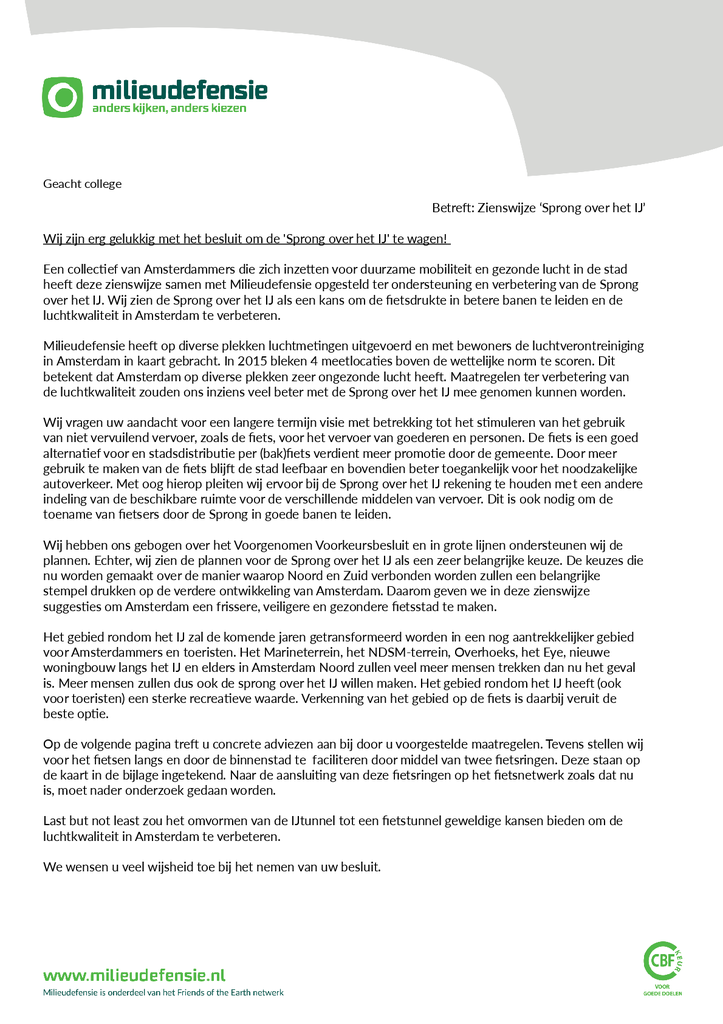 Voorbeeld van de eerste pagina van publicatie 'Zienswijze Sprong over het IJ'