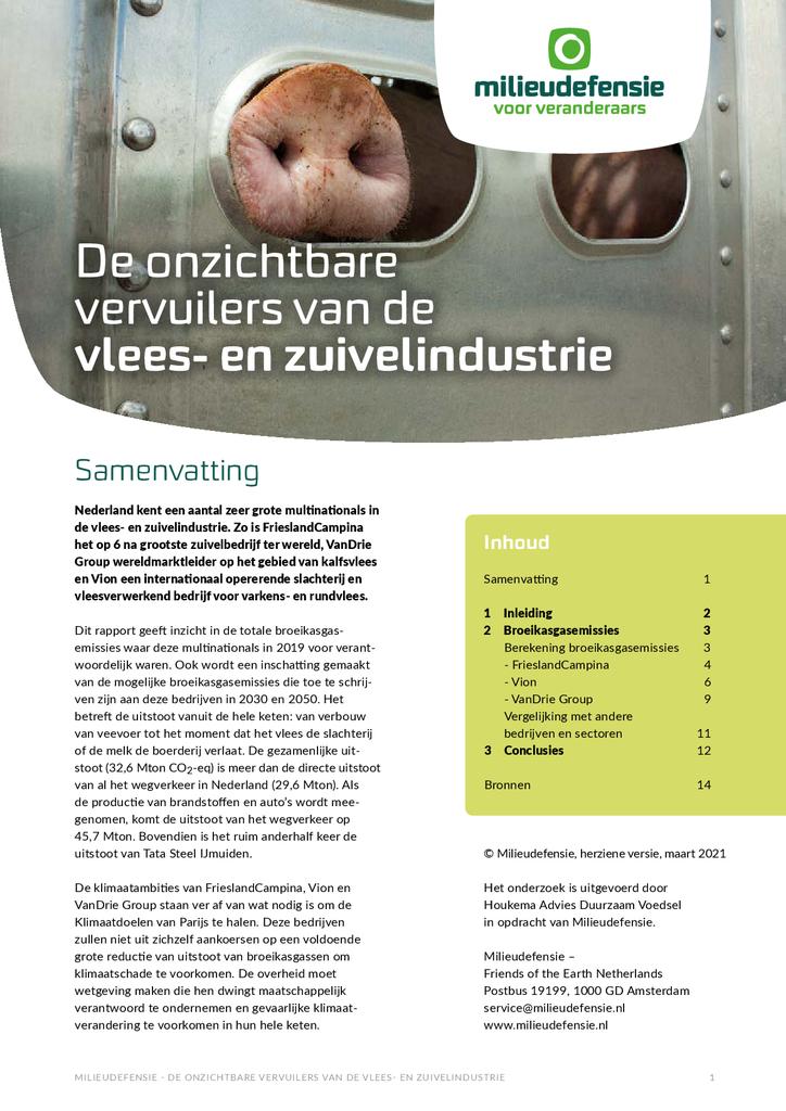 Voorbeeld van de eerste pagina van publicatie 'De onzichtbare vervuilers van de vlees- en zuivelindustrie'