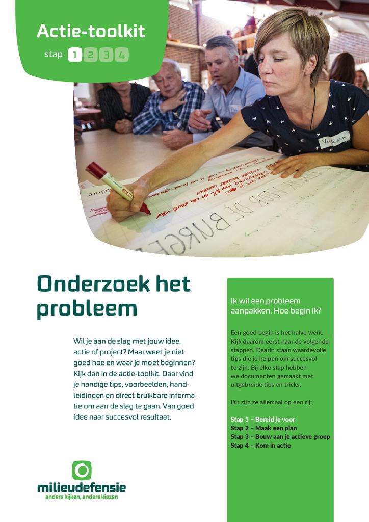 Voorbeeld van de eerste pagina van publicatie 'Actie-toolkit stap 1 - Onderzoek het probleem'