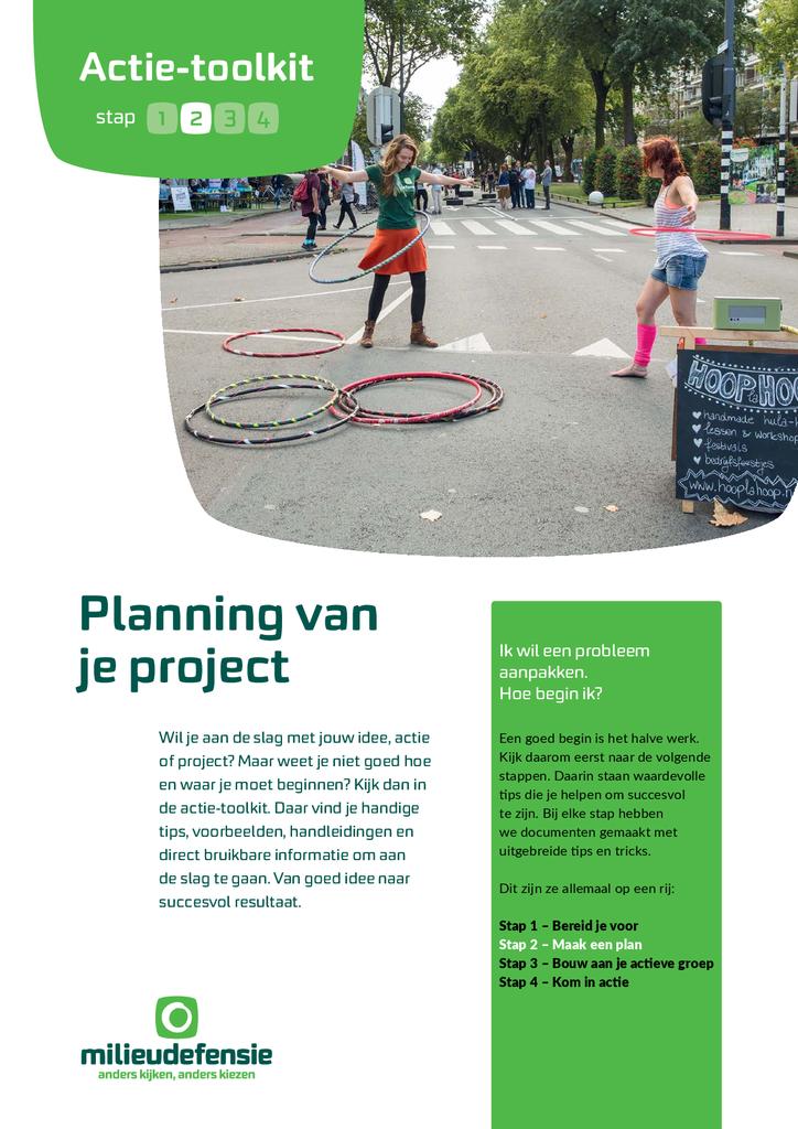 Voorbeeld van de eerste pagina van publicatie 'Actie-toolkit stap 2 - Plan je project'
