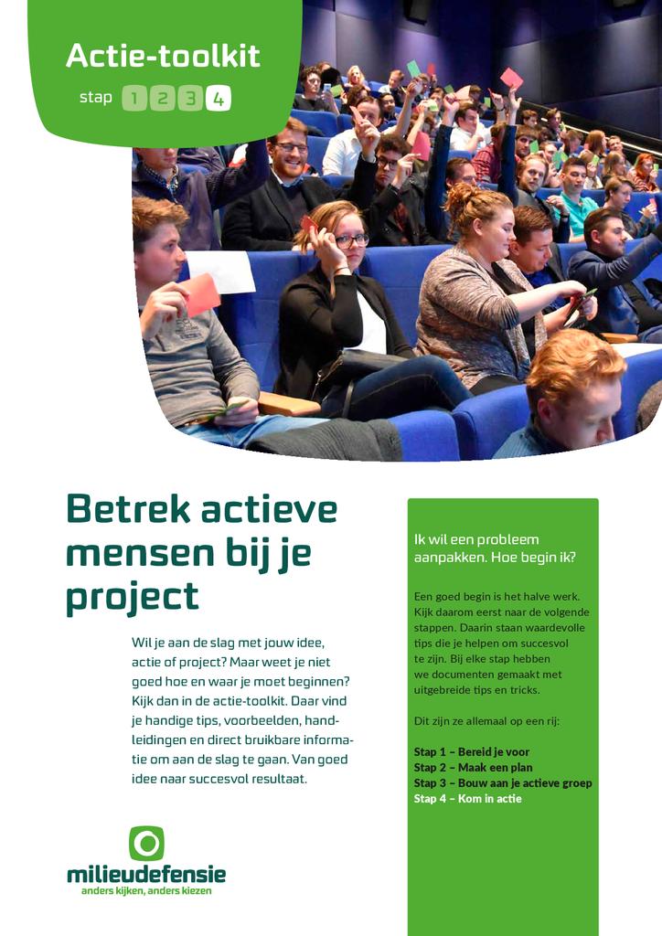 Voorbeeld van de eerste pagina van publicatie 'Actie-toolkit stap 4 - Betrek actieve mensen bij je project'