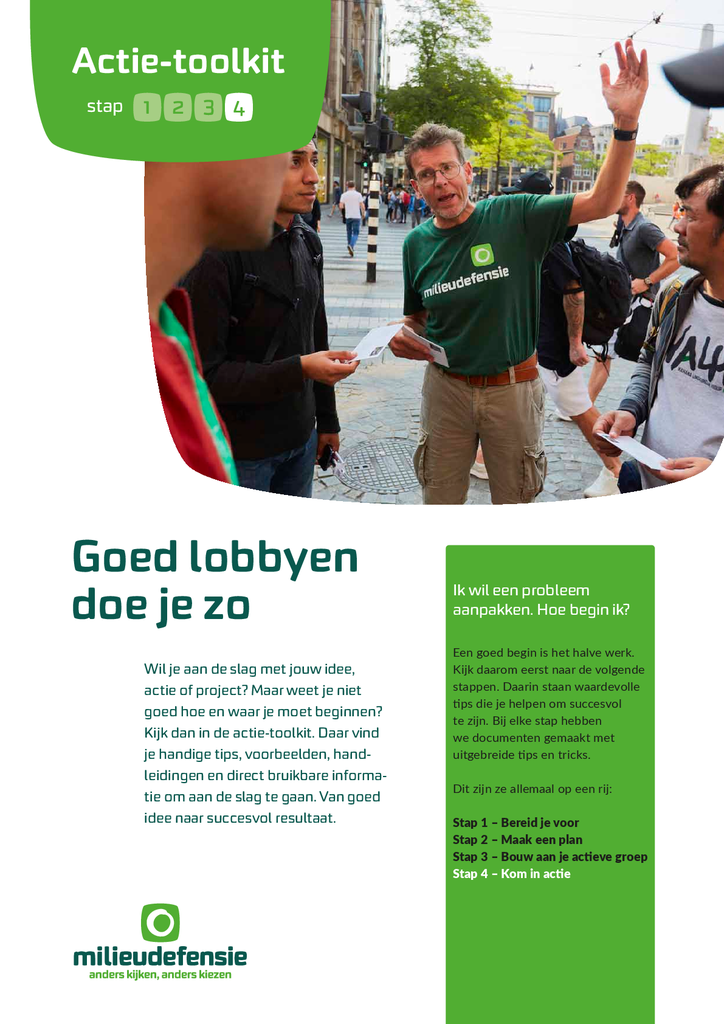 Voorbeeld van de eerste pagina van publicatie 'Actie-toolkit stap 4 - Goed lobbyen doe je zo'