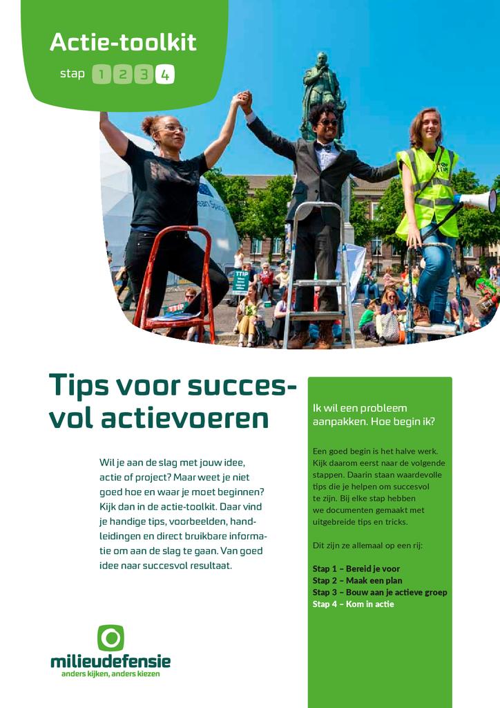 Voorbeeld van de eerste pagina van publicatie 'Actie-toolkit stap 4 - Tips voor succesvol actievoeren'