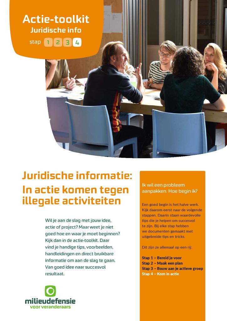 Voorbeeld van de eerste pagina van publicatie 'Juridische informatie: in actie komen tegen illegale activiteiten'
