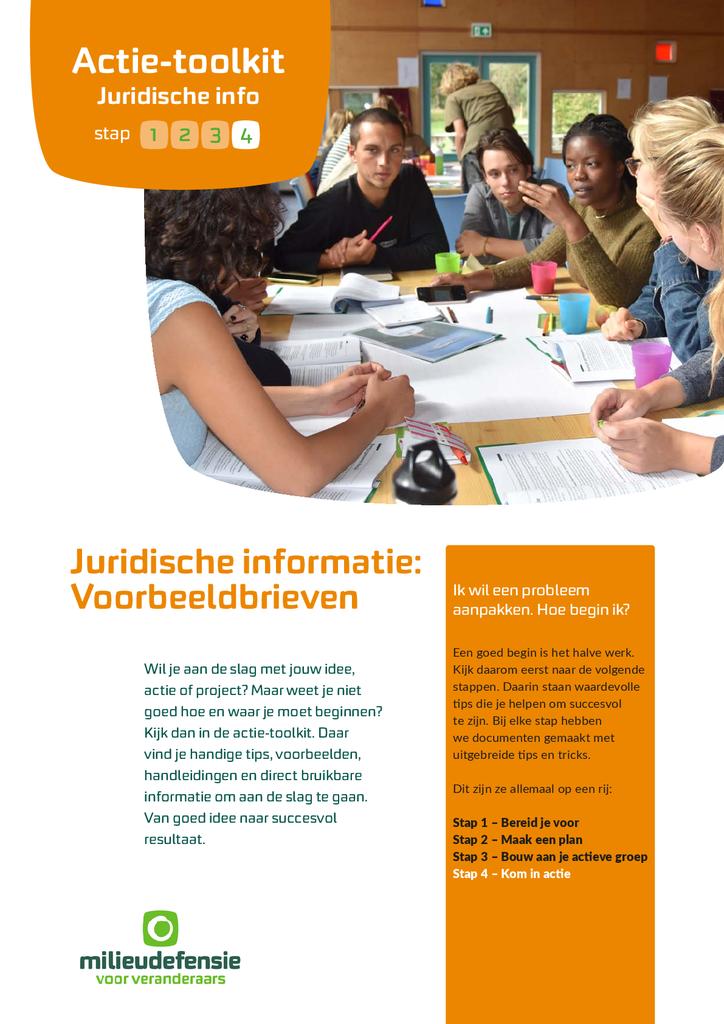 Voorbeeld van de eerste pagina van publicatie 'Juridische informatie: algemene tips en voorbeeldbrieven'