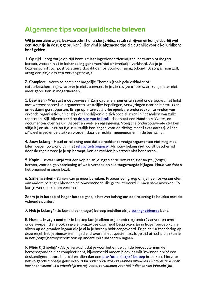 Voorbeeld van de eerste pagina van publicatie 'Algemene tips voor juridische brieven'