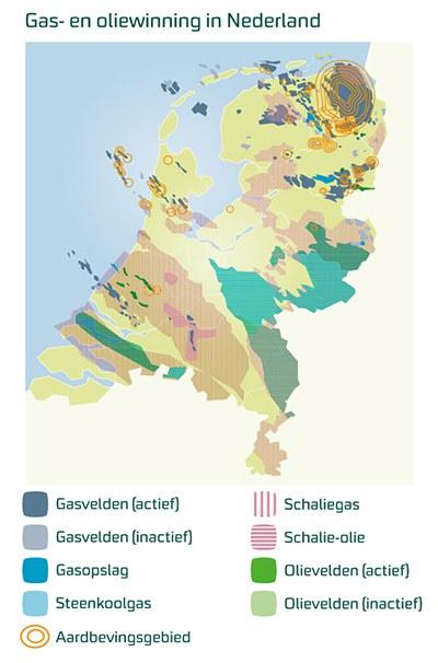 Een vlekkenkaart laat zien op welke plekken in Nederland schaliegas in de grond zit